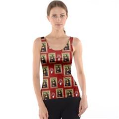 Mona Lisa Frame Pattern Red Tank Top