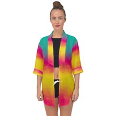 Ombre Open Front Chiffon Kimono by Valentinaart