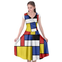 Mondrian Geometric Art Cap Sleeve Wrap Front Dress by KayCordingly