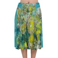 Bloom In Vintage Ornate Style Velvet Flared Midi Skirt by pepitasart