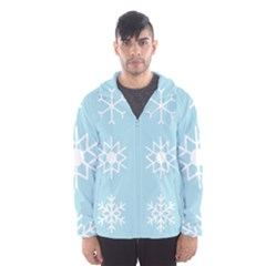 Snowflakes Winter Graphics Weather Hooded Windbreaker (men) by Simbadda