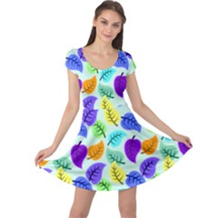 Colorful Leaves Blue Cap Sleeve Dress