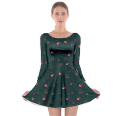 Teal Cherries Long Sleeve Skater Dress by chihuahuadresses