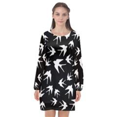 Birds Pattern Long Sleeve Chiffon Shift Dress  by Valentinaart