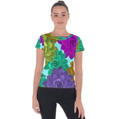 Flowers Stamping Pattern Reason Short Sleeve Sports Top  by Simbadda