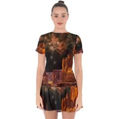 Geology Sand Stone Canyon Drop Hem Mini Chiffon Dress by Simbadda