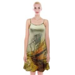 Boat Old Fisherman Mar Ocean Spaghetti Strap Velvet Dress