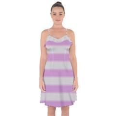 Bold Stripes Soft Pink Pattern Ruffle Detail Chiffon Dress by BrightVibesDesign