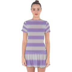 Bold Stripes Soft Purple Pattern Drop Hem Mini Chiffon Dress by BrightVibesDesign