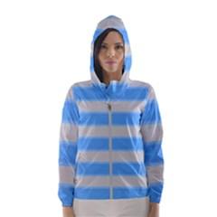 Bold Stripes Bright Blue Pattern Hooded Windbreaker (women)