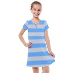 Bold Stripes Bright Blue Pattern Kids  Cross Web Dress by BrightVibesDesign