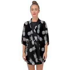 Pineapple Pattern Half Sleeve Chiffon Kimono