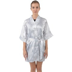 White Abstract Wall Paper Design Frame Quarter Sleeve Kimono Robe by Simbadda