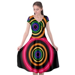 Neon Light Abstract Pattern Lines Cap Sleeve Wrap Front Dress by Simbadda