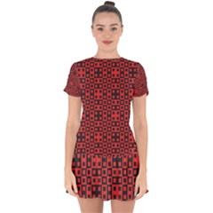 Abstract Background Red Black Drop Hem Mini Chiffon Dress by Simbadda