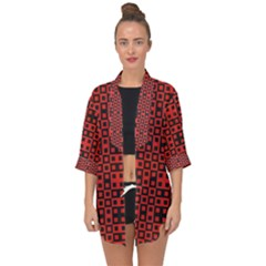 Abstract Background Red Black Open Front Chiffon Kimono by Simbadda