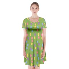 Balloon Grass Party Green Purple Short Sleeve V Neck Flare Dress by Simbadda