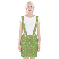 Balloon Grass Party Green Purple Braces Suspender Skirt