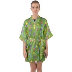Balloon Grass Party Green Purple Quarter Sleeve Kimono Robe by Simbadda