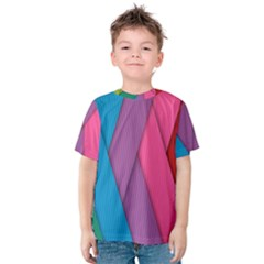 Abstract Background Colorful Strips Kids  Cotton Tee by Simbadda