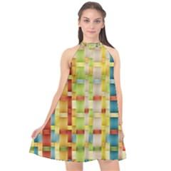 Woven Pattern Background Yellow Halter Neckline Chiffon Dress  by Simbadda