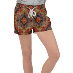 Autumn Kaleidoscope Art Pattern Women s Velour Lounge Shorts by Simbadda