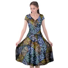 Multi Color Tile Twirl Octagon Cap Sleeve Wrap Front Dress by Simbadda