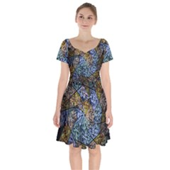 Multi Color Tile Twirl Octagon Short Sleeve Bardot Dress by Simbadda
