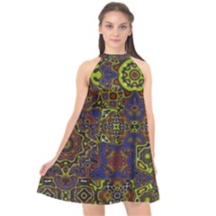 Funky Pattern1 Halter Neckline Chiffon Dress  by bywhacky