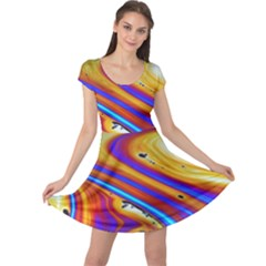 Soap Bubble Color Colorful Cap Sleeve Dress by Celenk