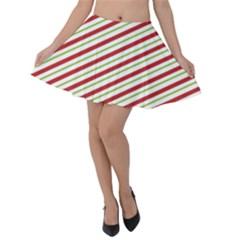 Stripes Striped Design Pattern Velvet Skater Skirt by Celenk
