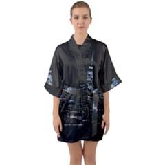 New York Skyline New York City Quarter Sleeve Kimono Robe by Celenk
