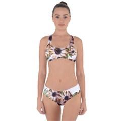 Sun Daisies Leaves Flowers Criss Cross Bikini Set by Celenk