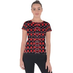 Red Lips And Roses Just For Love Short Sleeve Sports Top  by pepitasart