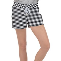 Chessboard 36x36 Women s Velour Lounge Shorts by ChastityWhiteRose