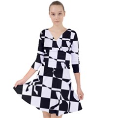 Chessboard Unicorn Quarter Sleeve Front Wrap Dress by ChastityWhiteRose