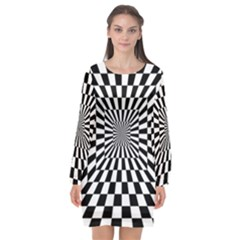 2 Color Checkered Square Tunnel Long Sleeve Chiffon Shift Dress  by ChastityWhiteRose