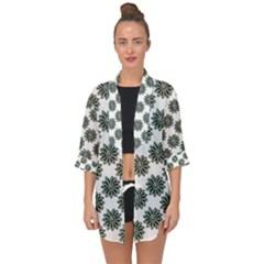 Graphic Pattern Flowers Open Front Chiffon Kimono