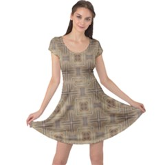 Abstract Wood Design Floor Texture Cap Sleeve Dress