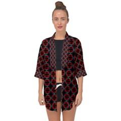 Pattern Design Artistic Decor Open Front Chiffon Kimono