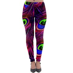 Peacock Feathers Color Plumage Lightweight Velour Leggings by Celenk