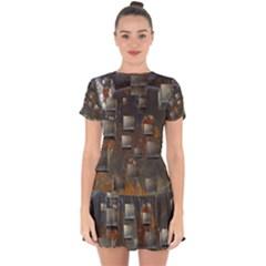 Background Metal Pattern Texture Drop Hem Mini Chiffon Dress by Celenk