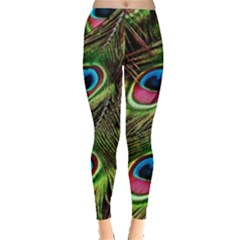 Peacock Feathers Color Plumage Leggings  by Celenk