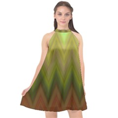 Zig Zag Chevron Classic Pattern Halter Neckline Chiffon Dress  by Celenk