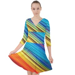 Rainbow Quarter Sleeve Front Wrap Dress by NSGLOBALDESIGNS2