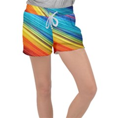 Rainbow Women s Velour Lounge Shorts by NSGLOBALDESIGNS2