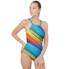 Rainbow High Neck One Piece Swimsuit by NSGLOBALDESIGNS2