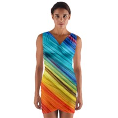 Rainbow Wrap Front Bodycon Dress by NSGLOBALDESIGNS2