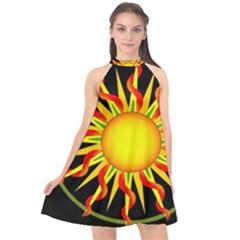 Mandala Sun Graphic Design Halter Neckline Chiffon Dress  by Simbadda