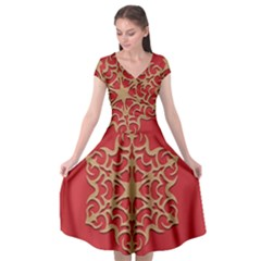 Ornament Flower Pattern Jewelry Cap Sleeve Wrap Front Dress by Simbadda